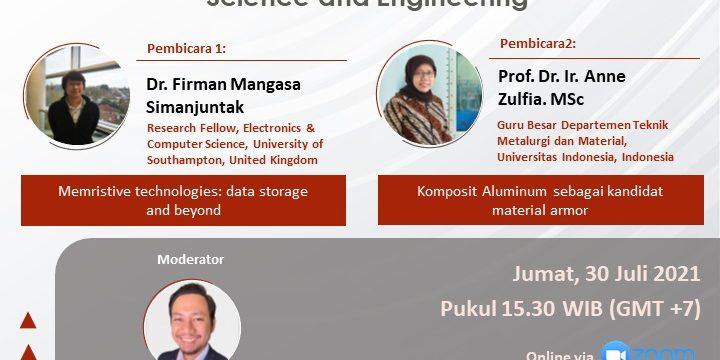 "Webinar (I-4) Klaster  ""Material Science and Engineering"""